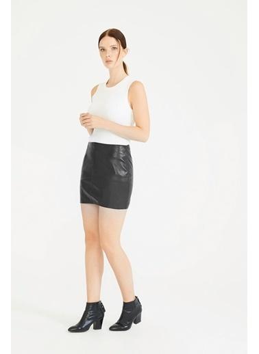 Deri Company Kadın Hakiki (Gerçek) Deri Etek Agatha Siyah 222501 Siyah